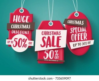 Huge Christmas sale vector set of red sale tags hanging with 50% off text and with origami paper style for holiday discount promotion. Vector illustration.