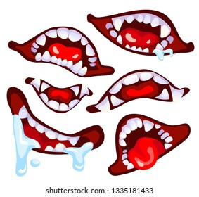Huge collection with crazy monster's open mouth full of teeth. Smile halloween monster. Element for your design