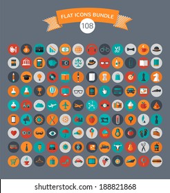 Huge collection of flat vector icons with modern colors of travel, marketing,  hipster ,science, education ,business ,money ,shopping, objects, food