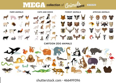 Huge collection of funny cartoon animals, birds, pets, farm, and sea creatures. Vector illustration