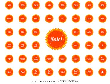 Huge collection of isolated retro styled badges, set of 45 emblems in hot colors of orange and bright red