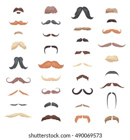 Huge collection mustache retro curly, mustache set. Mustache different colors and forms mustache hair. Mustaches barber silhouette hairstyle hipster mustache mask disguise. Vector gentleman mustache