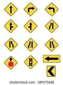 A huge collection of various vector road and traffic signs