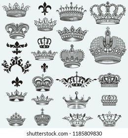 Huge collection of vector crowns for design
