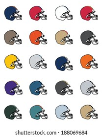 A huge collection of vector football helmets