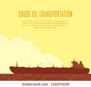 Huge crude oil tanker in the sea. Landscape with commercial supertanker over yellow sky with big clouds at sunset. Vector illustration