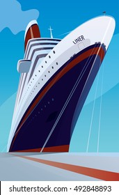 Huge cruise liner moored at the pier. Front view. Transportation or ship docked concept. Vector illustration