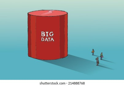 Huge database symbol dwarfs three people - big data concept. Hand drawn vector sketch isolated on blue background.