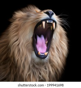 Huge fangs of Asian lion, isolated on black background. King of beasts, biggest cat of the world. The most dangerous predator of world with open chaps. Square vector image in oil painting style.