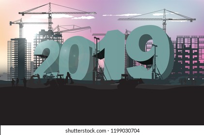 huge figures 2019 at the construction site of the new district in the morning