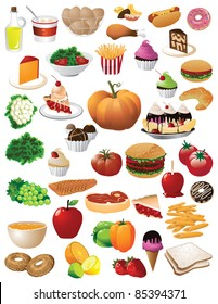 HUGE food collection 40 different detailed foods isolated on a white background. EPS 8 vector with no open shapes, strokes, or transparencies, grouped for easy editing.