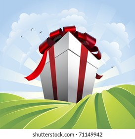 A huge gift. Conceptual illustration of a huge present with bow towering over fields. Could represent a massive sale or bargain.