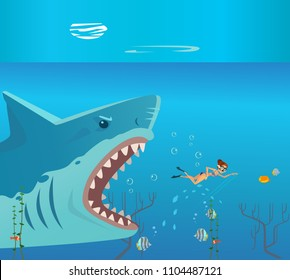 Huge grate big shark character attack small woman person victim. Danger diving vacation flat cartoon illustration graphic design concept element