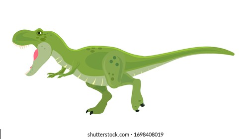 A huge green tyrannosaurus. Cartoon character.