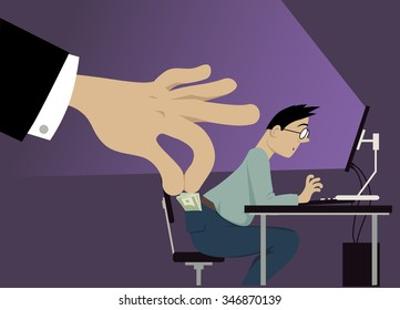 A huge hand attempting to steal money from a man's pocket, EPS 8 vector illustration, no transparencies