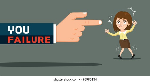 Huge hand with fail word pointing index finger at businesswoman, vector illustration cartoon