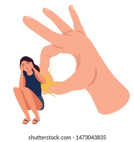 Huge hand flicking crying girl. Woman with guilt feelings. Stressed woman with mental problem, self hate or abused by critic. Concept of harmful criticism. Colorful illustration vector in flat style
