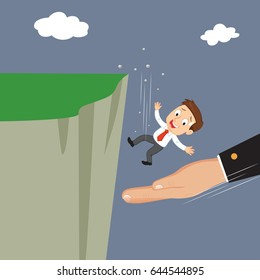 Huge hand to help businessman falling off a cliff, Helping hand business concept