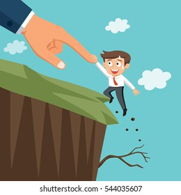 Huge hand help businessman verge of falling off the cliff, vector illustration cartoon