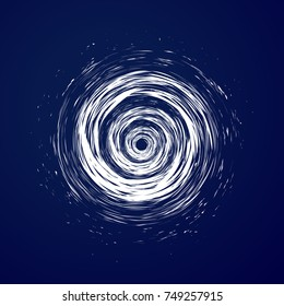 Huge hurricane, tornado, typhoon, white swirl clouds, twister on blue sea background top view. Danger cyclone vector illustration, web infographic.