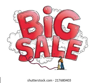 Huge inflatable Big Sale sign being pumped up by a man. Hand drawn isolated vector sketch on white background.