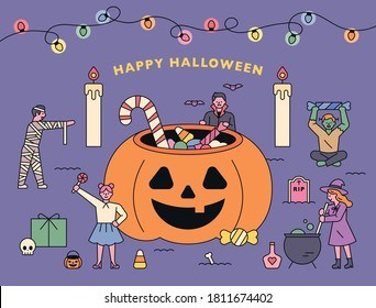 A huge jack-o-lantern basket full of candy and Halloween characters around. flat design style minimal vector illustration.