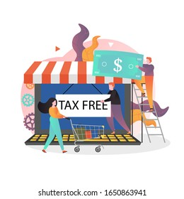 Huge laptop computer internet store and male and female characters doing tax free shopping online, vector illustration. VAT refund concept for web banner, website page etc.
