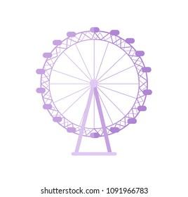 Huge London Eye as popular tourist destination. Biggest ferris wheel of England. Famous Great Britain sight isolated cartoon vector illustration.