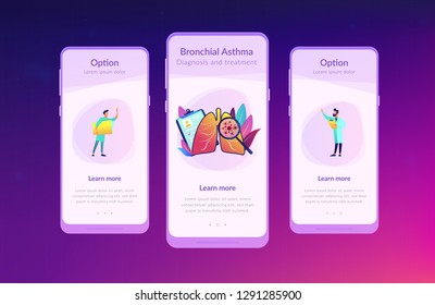 Huge magnifier showing cancer in the lungs and doctor with document folder. Lung cancer, trachea and bronchus concept on white background. Mobile UI UX GUI template, app interface wireframe