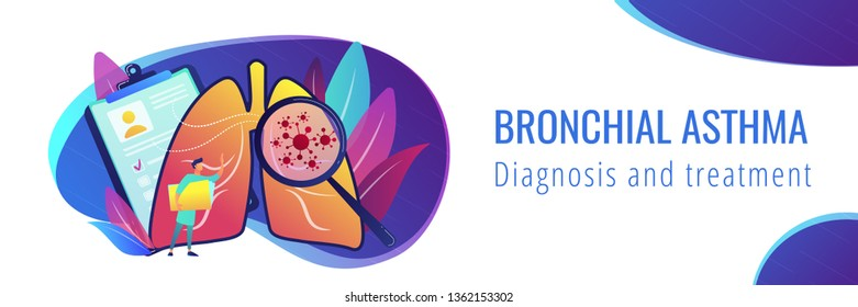 Huge magnifier showing cancer in the lungs and doctor with document folder. Lung cancer, trachea and bronchus concept on white background. Header or footer banner template with copy space.