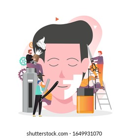 Huge man face and micro male characters with barber tools for beard grooming such as razor, aftershave, shaving brush with foam, scissors, vector illustration. Barbershop concept for website page etc.