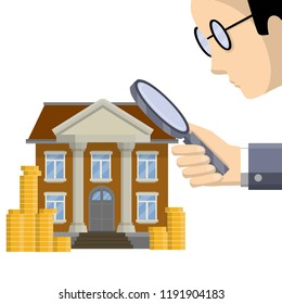 A huge man with glasses and a large magnifying glass looks at the Bank building. Audit and verification of financial condition. Business work and supervision of commercial activities. Gold coin