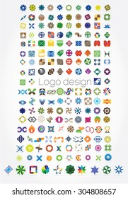 Huge mega set of abstract company logos mega collection, concepts swirls waves.Business abstract set of 174 logo designs,vector illustration.Unusual icons - isolated on white background,abstract icon