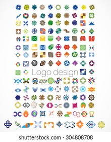 Huge mega set of abstract company logos mega collection, concepts swirls waves.Business abstract set of 144 logo designs,vector illustration.Unusual icons - isolated on white background,abstract icon