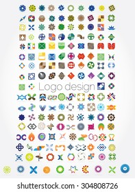 Huge mega set of abstract company logos mega collection, concepts swirls waves.Business abstract set of 164 logo designs,vector illustration.Unusual icons - isolated on white background,abstract icon