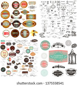 Huge mega vector collection or set of vintage flourishes, calligraphic elements and labes with badges for design