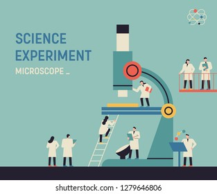 A huge microscope and a small scientist character. Science and Technology Development Research Concept Web Template illustration. flat design vector graphic style.