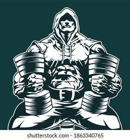 huge muscular bodybuilder sitting with dumbbells, vector image