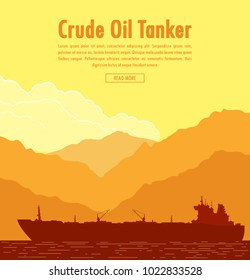 Huge oil tanker near sea shore with mountain range at sunset. Vector illustration
