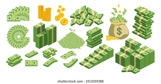 Huge packs of paper money. Bundle with cash bills. Keeping money in bank. Deposit, wealth, accumulation and inheritance. Flat vector cartoon money illustration. Objects isolated on a white background.