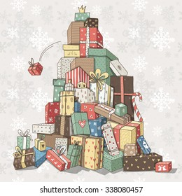 A huge pile of Christmas gifts. Merry Christmas and Happy New Year!
