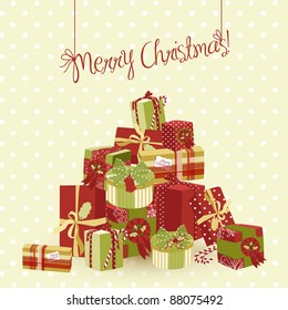 A huge pile of Christmas gifts. Vector Illustration