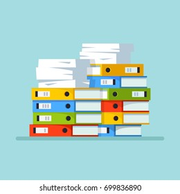 Huge pile of office paperwork. Stack of file folders, paper document isolated on background. Bureaucracy concept. Vector cartoon illustration. Flat style design