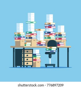 Huge pile of paper documents and boxes with file folders on table and chair. The workplace is cluttered with stacks of paper. Paperwork vector flat illustration