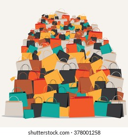 Huge pile of shopping bags. EPS 10 vector