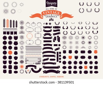 Huge Premium design elements. Great for retro vintage logos. Starbursts, frames and ribbons Designers Collection