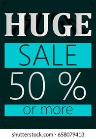 Huge sale design poster.Vector illustration