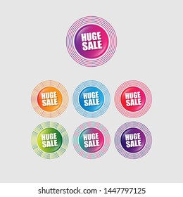 Huge sale - glossy label. circle sticker with gradient color.trendy color. modern design.set