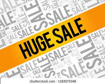 HUGE SALE word cloud collage, business concept background