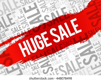 HUGE SALE words cloud, business concept background